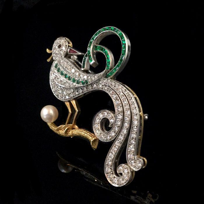 Retro Diamant Smaragd Brosche Vogel um 1940