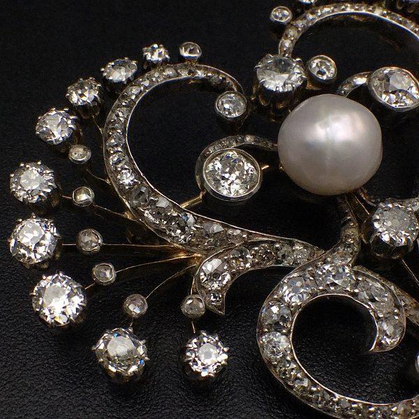 Jugendstil Diamant Brosche um 1900